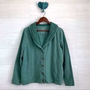 LL Bean Teal Cowl Neck Button Up Cardigan